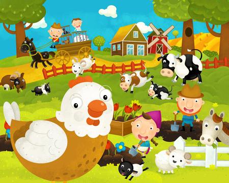 cartoon happy and funny farm scene with happy chicken hen - illustration for children