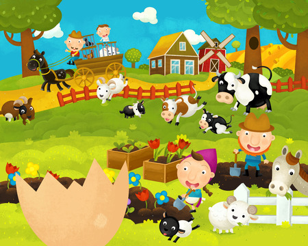 cartoon happy and funny farm scene with chicken egg - illustration for children