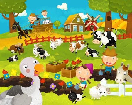 cartoon happy and funny farm scene with happy turkey - illustration for children