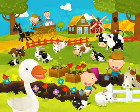 cartoon happy and funny farm scene with happy goose - illustration for children