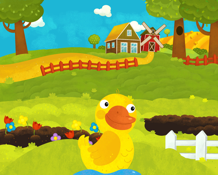 cartoon happy and funny farm scene with happy duck - illustration for children