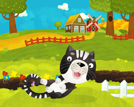 cartoon happy and funny farm scene with happy cat - illustration for children
