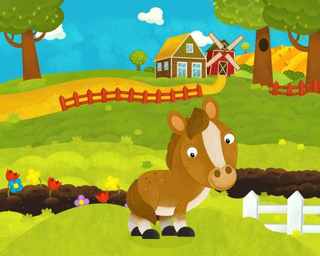 cartoon happy and funny farm scene with happy horse - illustration for children Фото со стока