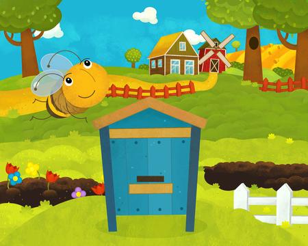 caricatura, feliz y divertido, granja, escena, con, feliz, y, divertido, vuelo, abeja, -, ilustración, para, niños Foto de archivo