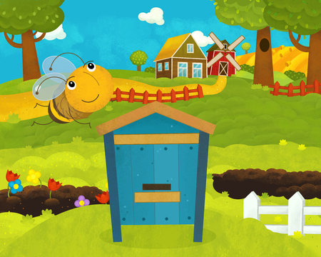 cartoon happy and funny farm scene with happy and funny flying bee - illustration for children Stockfoto