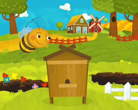 cartoon happy and funny farm scene with happy and funny flying bee - illustration for children