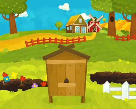 cartoon happy and funny farm scene with funny hive - illustration for children