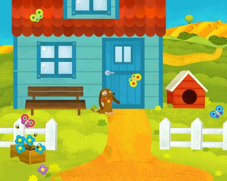 Cartoon farm scene - traditional village - for different usage - illustration for children