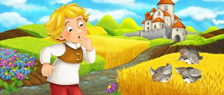 Cartoon scene - young farmer traveling to the castle on the hill seeing flying birds - illustration for children