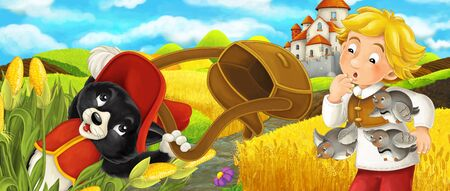 Cartoon scene - cat traveling to the castle on the hill with young boy farmer - illustration for children