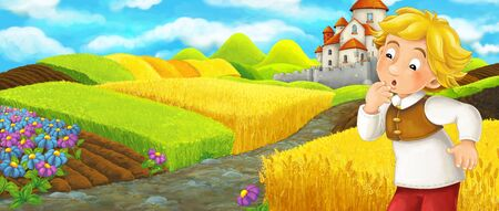 Cartoon scene - young boy farmer traveling to the castle on the hill - illustration for children 写真素材