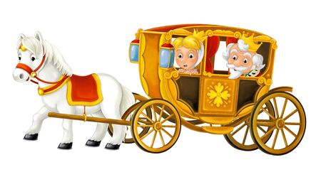 Cartoon carriage with king and queen - transportation isolated on white background illustration for children