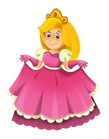 漫画のキャラクター - 王室の王女陽気な立って笑顔 - 子供のための孤立した白い背景のイラスト