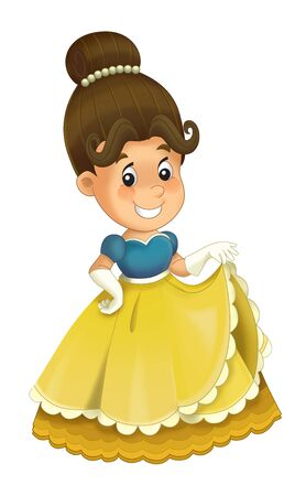 Cartoon character - royal princess cheerful standing and smiling - isolated white background illustration for children Stockfoto - 129401125