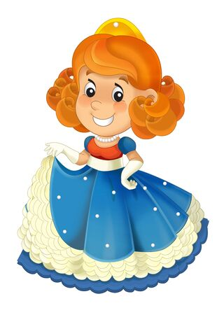 Cartoon character - royal princess cheerful standing and smiling - isolated white background illustration for children Stockfoto - 129401124
