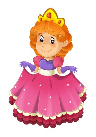 Cartoon character - royal princess cheerful standing and smiling - isolated white background illustration for children Stock Photo