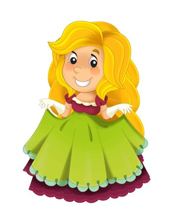 Cartoon character - royal princess cheerful standing and smiling - isolated white background illustration for children Stockfoto - 129401168