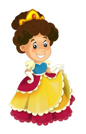 Cartoon character - royal princess cheerful standing and smiling - isolated white background illustration for children Stockfoto - 129402223