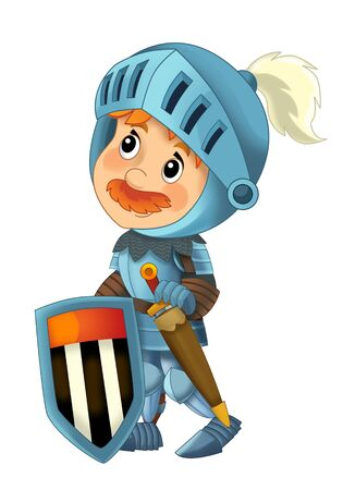 cartoon scene with king or knight standing and doing something on white background - illustration for children Reklamní fotografie