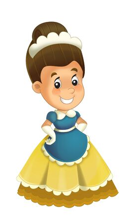 Cartoon character - royal princess cheerful standing and smiling - isolated white background illustration for children