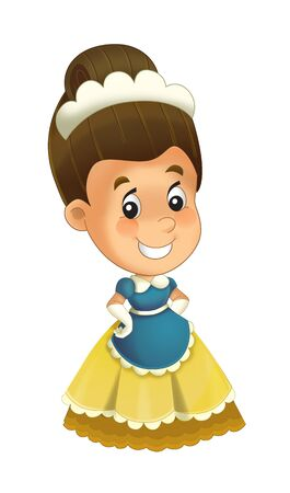 Cartoon character - royal princess cheerful standing and smiling - isolated white background illustration for children Stockfoto - 129402407