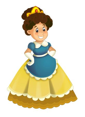 Cartoon character - royal princess cheerful standing and smiling - isolated white background illustration for children Stockfoto