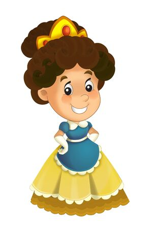 Cartoon character - royal princess cheerful standing and smiling - isolated white background illustration for children Stockfoto - 129402412