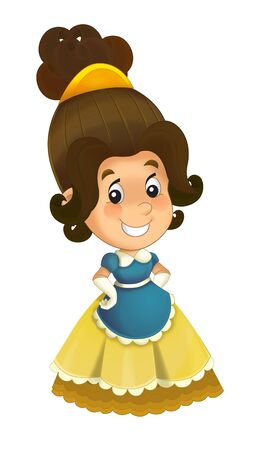 Cartoon character - royal princess cheerful standing and smiling - isolated white background illustration for children Stockfoto - 129402414