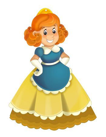 Cartoon character - royal princess cheerful standing and smiling - isolated white background illustration for children Stockfoto - 129402532