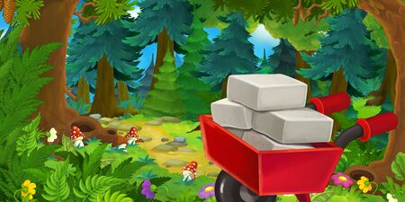 Cartoon fairy tale scene with wheelbarrow on the meadow in the forest - illustration for children