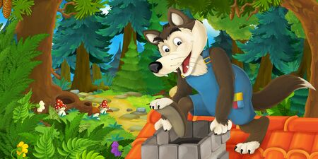 Cartoon fairy tale scene with wolf on the meadow in the forest - illustration for children