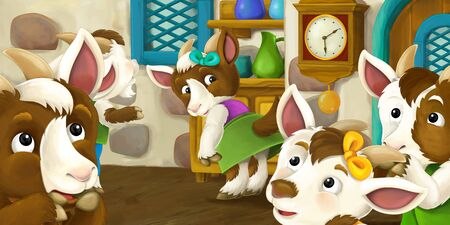 Cartoon scene with goat kids in the house old farm house standing and talking - illustration for children