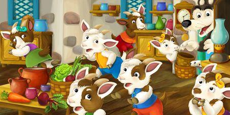 Cartoon scene with goat kids running around the house in the kitchen - illustration for children
