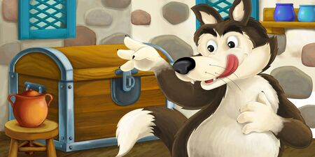 Cartoon scene with wolf in the old farm house room near some wooden chest - illustration for children Reklamní fotografie