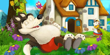 Cartoon scene wolf sleeping near some farm house and goat is watching - illustration for the children