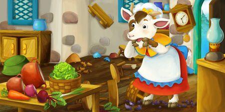 Mother goat standing in the kitchen - illustration for children