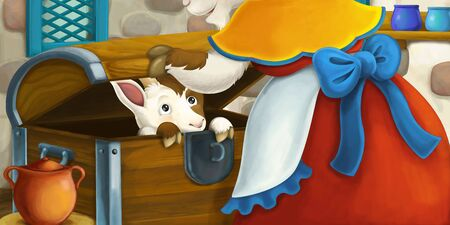 Cartoon scene with goats mother and son in the old farm house kitchen - illustration for children Stockfoto - 129402707
