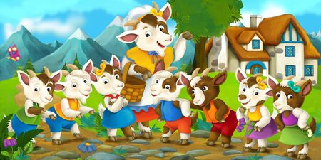 Happy and funny traditional farm scene mother goat and her children in front of their house - stage for different usage - illustration for children