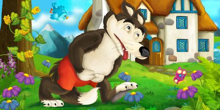 Cartoon scene with wolf near village house - illustration for children Reklamní fotografie