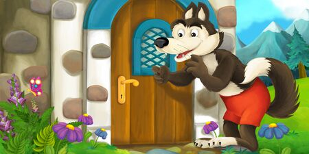 Cartoon scene with wolf near some old house window - illustration for children