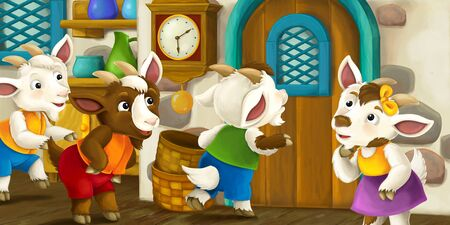 Cartoon scene with goat kids in the house standing near door curious who is on the other side - illustration for children Stockfoto - 129402753