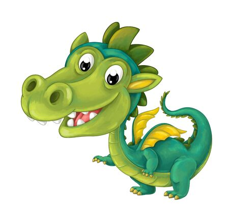 cartoon happy and funny dragon isolated - illustration for children