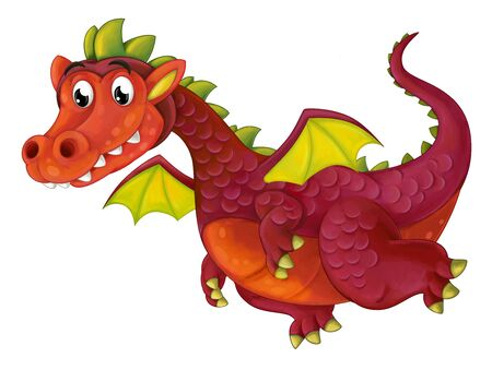 cartoon happy and funny dragon flying isolated on white background - illustration for children