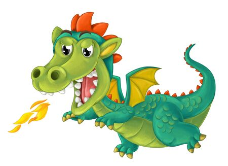 cartoon happy and funny dragon isolated on white background - illustration for children