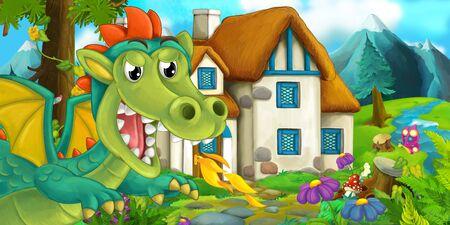Cartoon scene of a dragon near the village - illustration for children