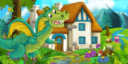 Cartoon scene of a dragon near the village - illustration for children
