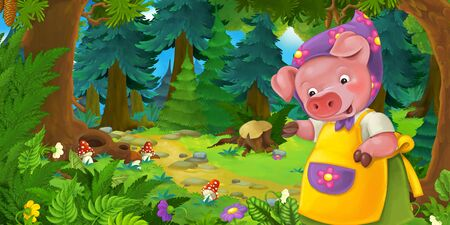 Cartoon fairy tale scene with pig farmer mother on the meadow in the forest - illustration for children