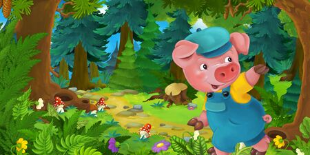 Cartoon fairy tale scene with pig farmer or worker on the meadow in the forest - illustration for children