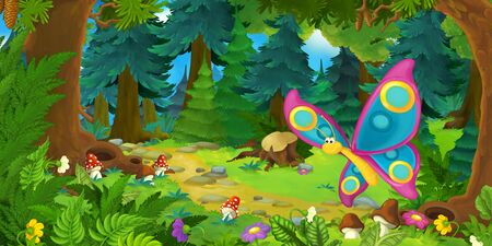 cartoon summer scene with deep forest and butterfly flying - nobody on scene - illustration for children Stockfoto