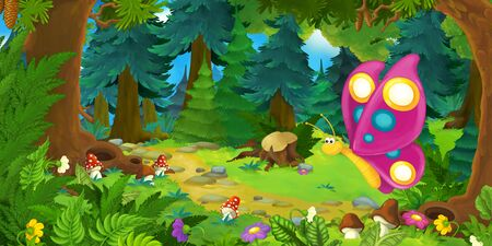 cartoon summer scene with deep forest and butterfly flying - nobody on scene - illustration for children Stockfoto - 129403091